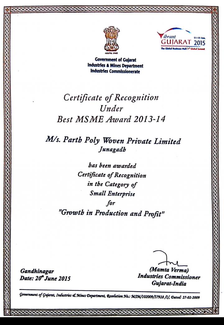 Parth Poly Woven Award 2013-14