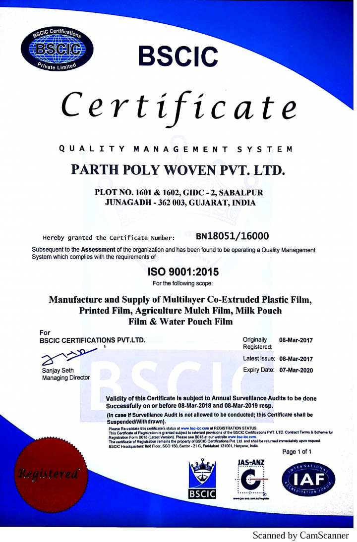 Parth Poly Woven Award ISO Certificate